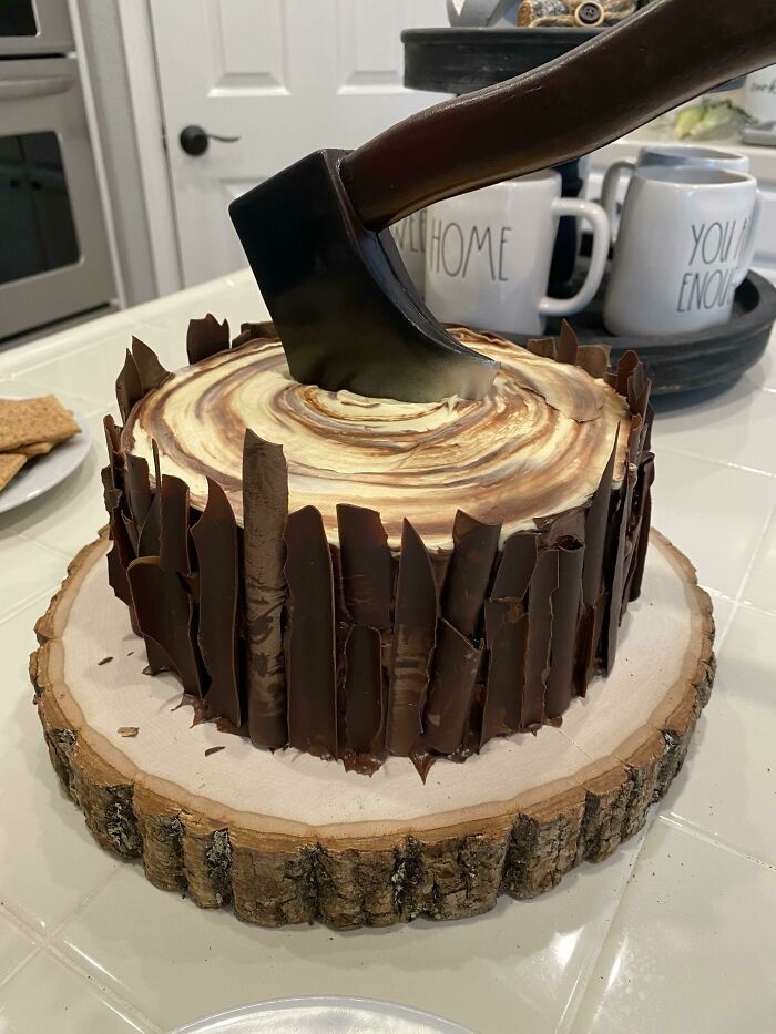 Husband Is A Wood Worker. Made This Cake For Father's Day!