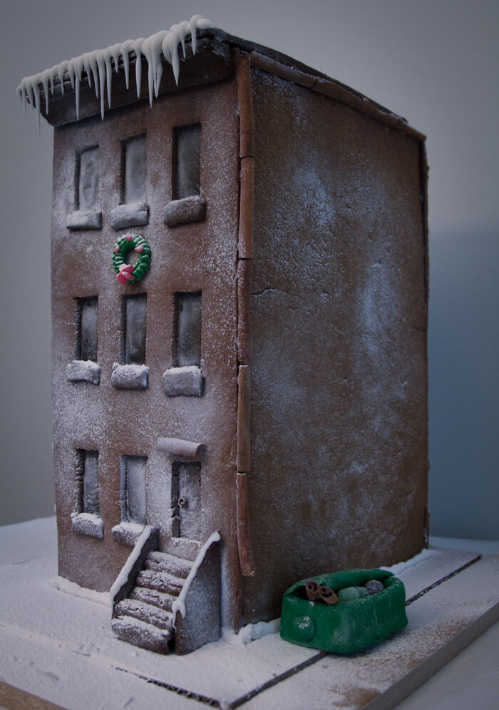 Gingerbread House: 3-Story Low-Income Rent-Controlled Brownstone Apartment Building In A Gentrified Neighbourhood With Candy Glass Windows, Cinnamon Gutters, And Fondant Dumpster