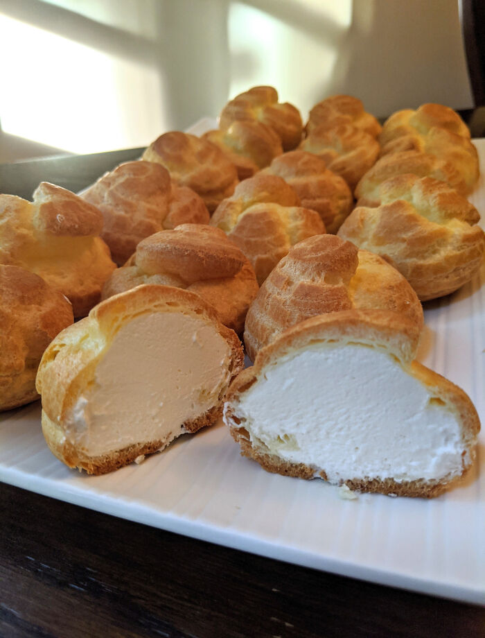 Homemade Cream Puffs That Are Filled To The Brim