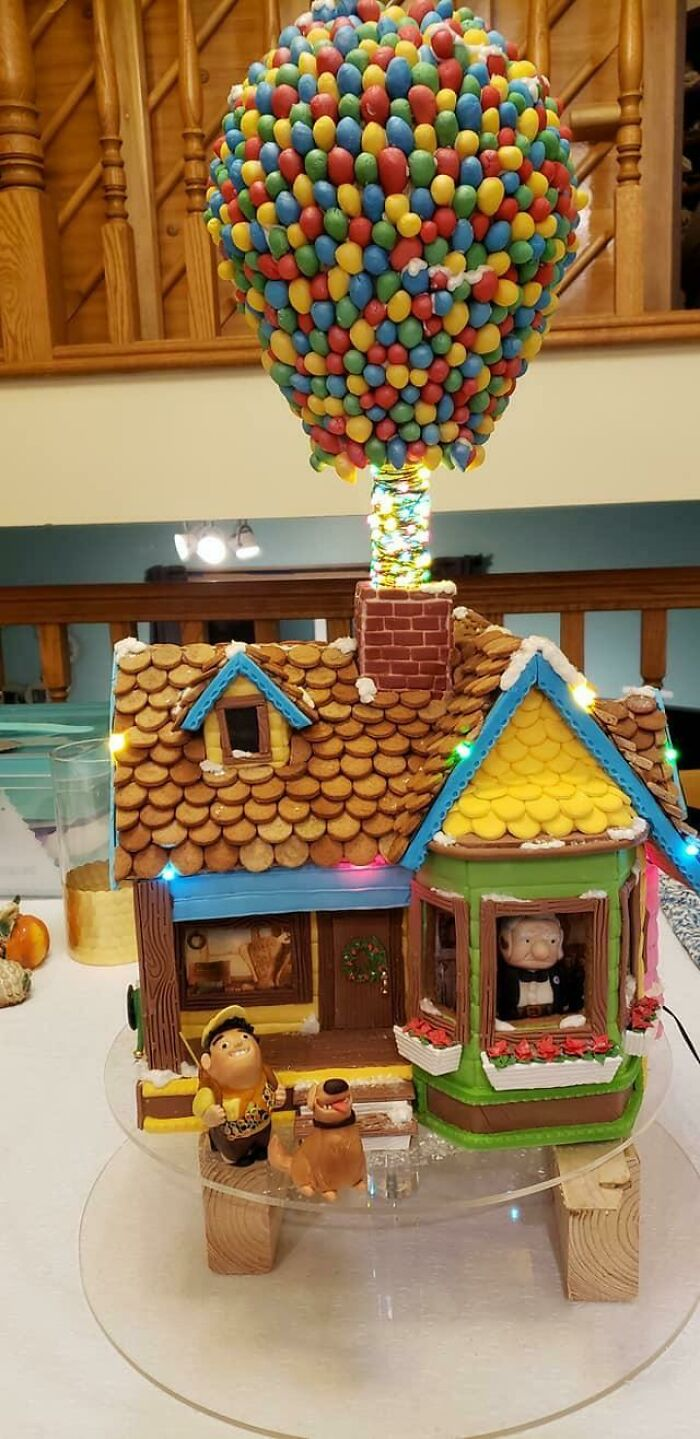 My Mom And I Made A 100% Edible (Except The Lights) 'Up' Themed Gingerbread House