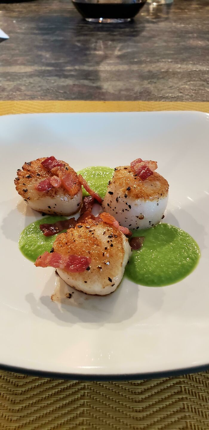 My 18yo Son Just Made Me Seared Scallops With A Pea Puree And Carmelized Bacon For My 49th Birthday. 1st Course!