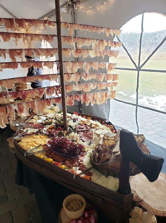 Charcuterie Ship At A Viking Wedding