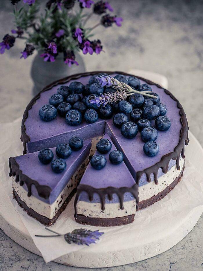 Stracciatella Maqui Berry And White Chocolate Cheesecake