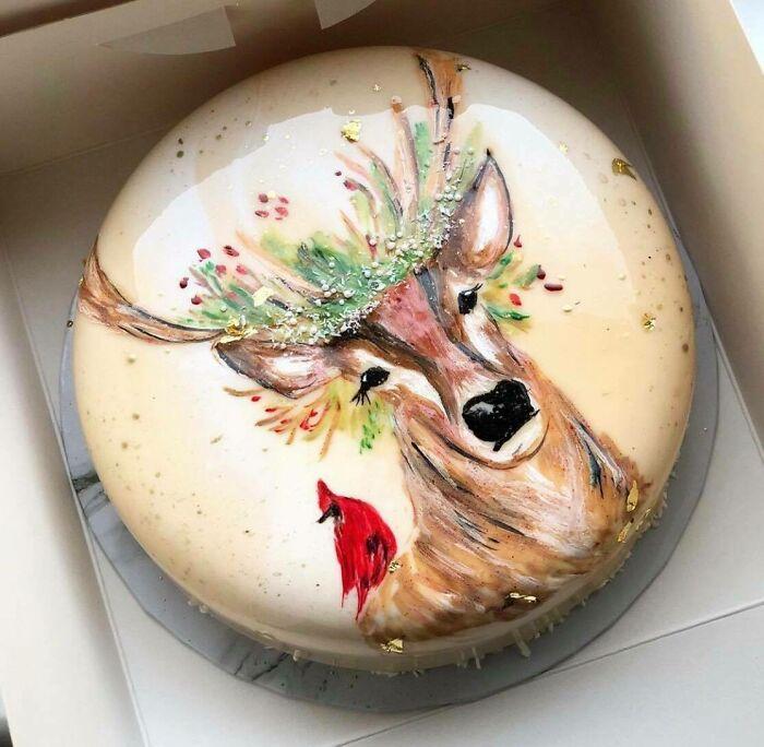 Christmas Mood Cake! Hand-Drawing On The Mirror Glaze