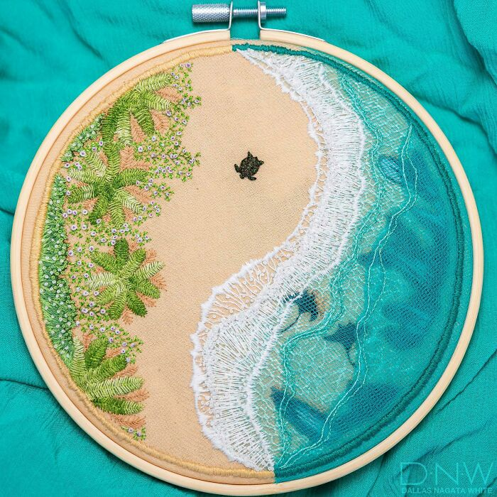 2nd Finished Hoop, Inspired By Hawaii! Experimented W/ Layering Tulle For Water Depth
