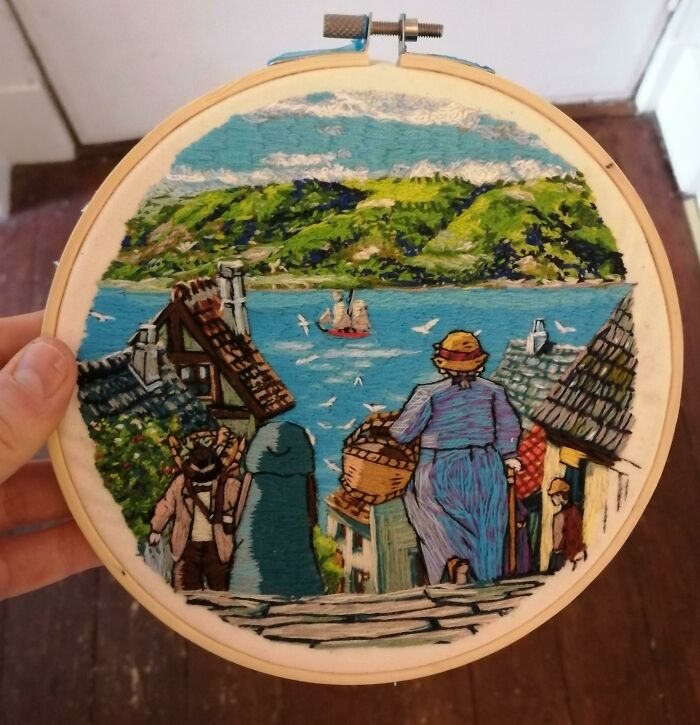 My Second Embroidery Piece - A Scene From 'Howls Moving Castle'