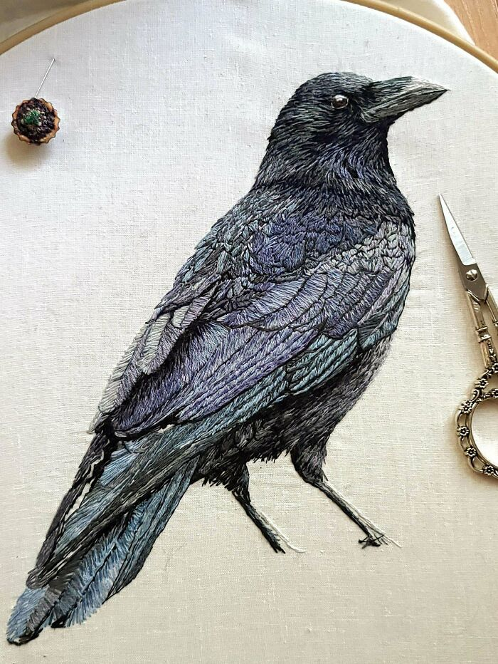 A Crow I've Been Embroidering For A Few Months Now. Still Gotta Give Him Feet And A Rock To Stand On