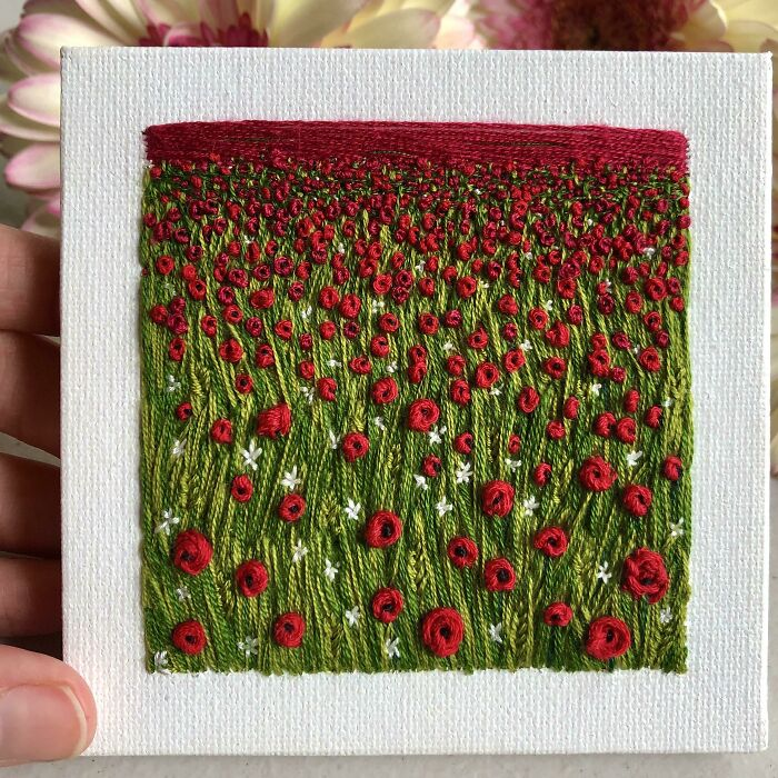I Embroidered A Field Full Of Poppies On A Mini Canvas And Loving The Result