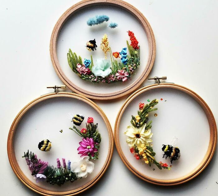 Floating Embroideries. Embroidery On Tulle Using Silk Ribbon, Tapestry And Threads