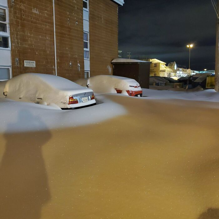 My Boss Told Me To Atleaste Try Shoveling Out And Come In Today. Saskatoon Sk, Canada (Red Car Is Mine)