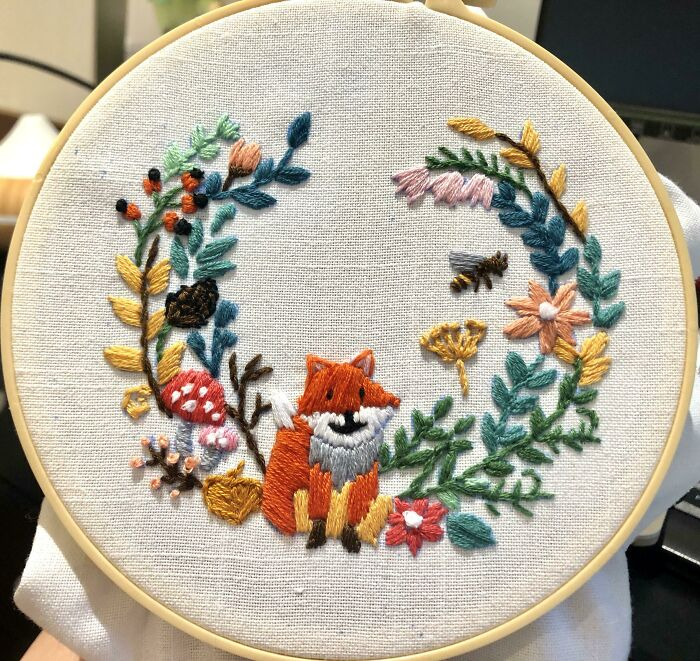 I'm Not Creative, But My Therapist Suggested I Try Embroidery To Help With My Anxiety. When I Started This Pre-Drawn Pattern I Didn't Even Know How To Hold A Needle, Took It One Stitch At A Time. There Were A Lot Of Mistakes, But I'm Chuffed! I Hope You Like It
