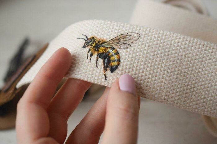 Honey Bee Embroidery On A Guitar Strap