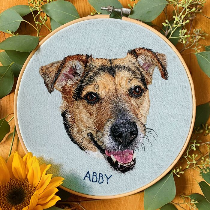 After Years Of Stitching Other People's Pets, I Finally Embroidered My Own Girl: Meet Abby!