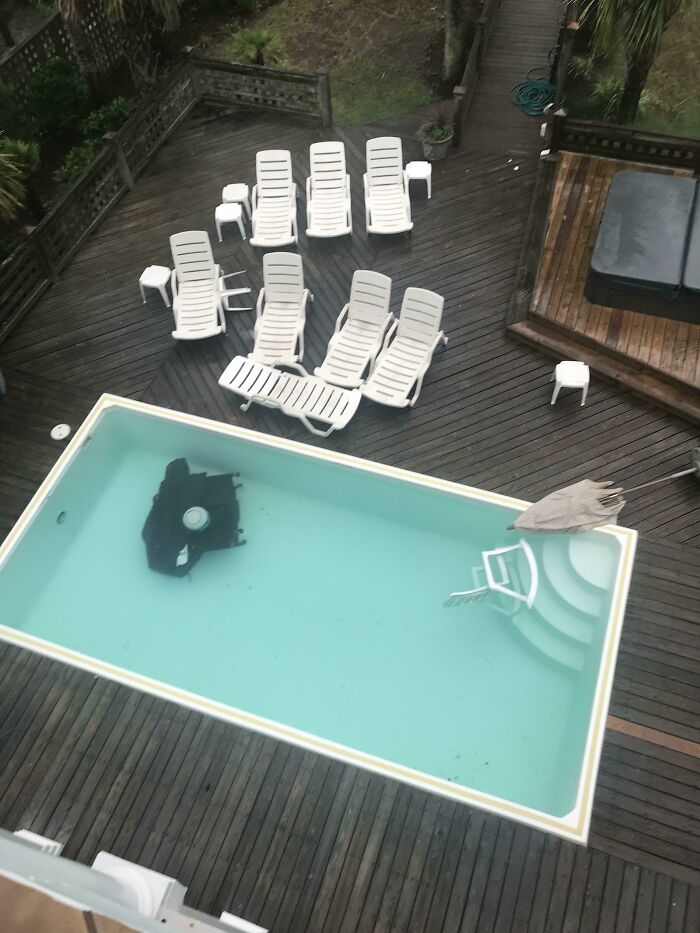 A Storm Came Through. The Plastic Furniture Barely Moved But The Grill Blew 30 Ft Into The Pool