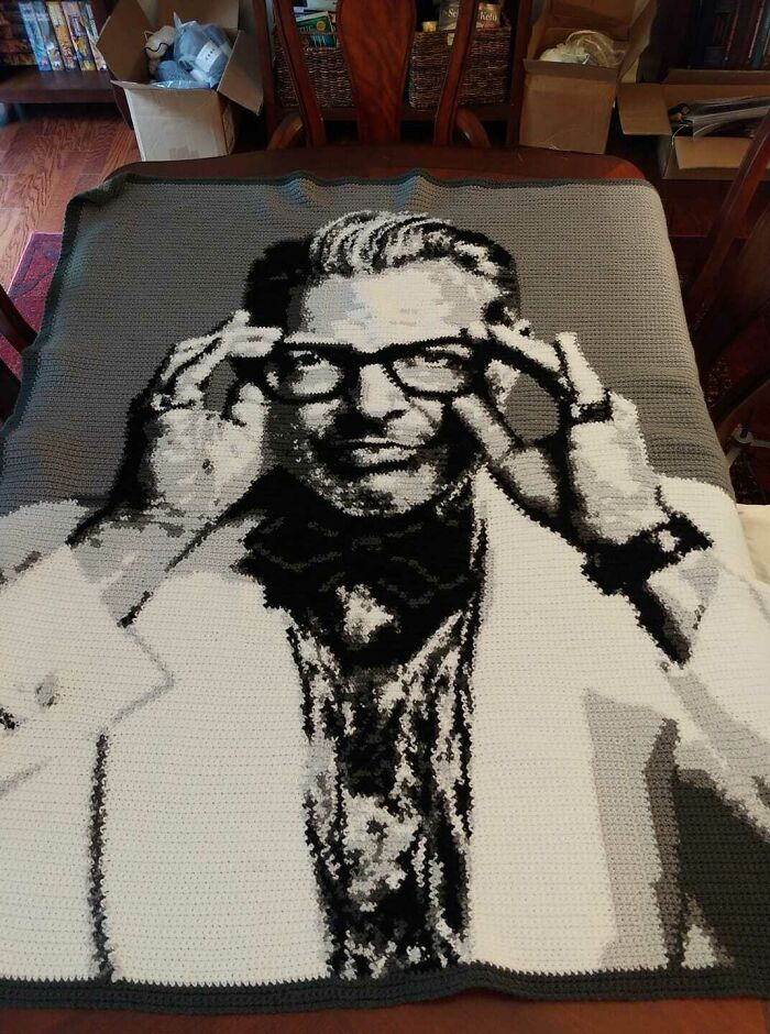 My Sil Loves Jeff Goldblum So I Crocheted Her A Blanket As A Surprise