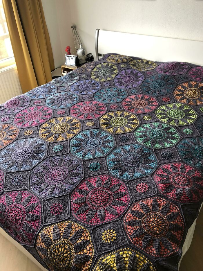 Only A Border Left To Make. And Maybe A Few Threads To Put Away With. But Happy Already. Stained Glass Wonder Blanket