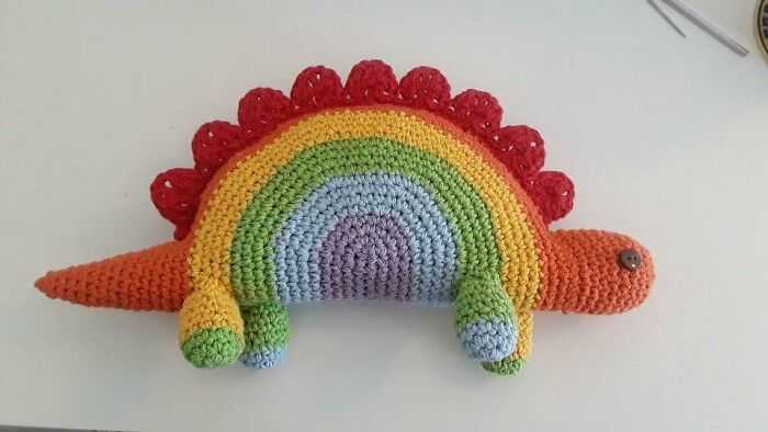 Rainbow Stegosaurus!! A Gift For A Kid Who Just Came Out As Lgbtq, And My Favorite Amigurumi I've Ever Made