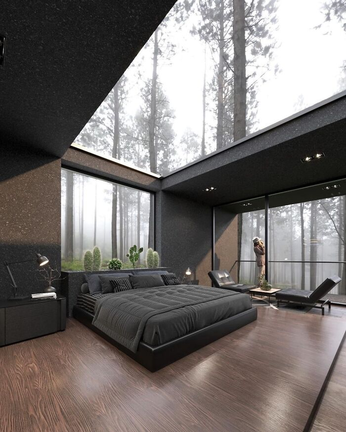This Contemporary House Glass Ceiling Bedroom