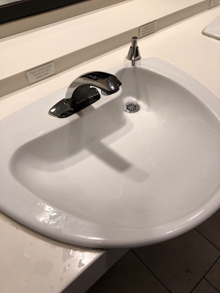 The Drain Is Right Under The Soap Dispenser So It Doesn't Stain The Sink