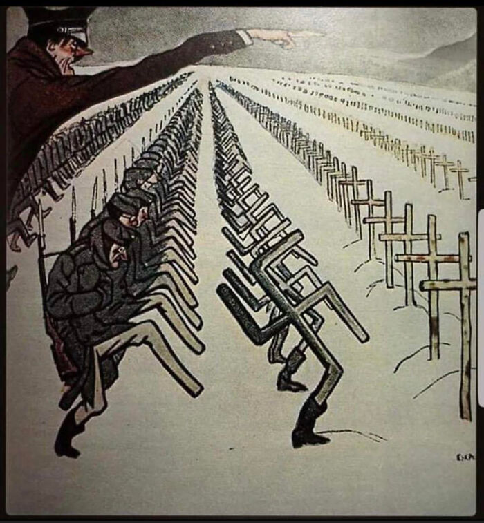 A Soviet Poster From 1944 Depicting Legions Of German Soldiers Fated To Die In The Russian Winter Due To Hitler's Orders
