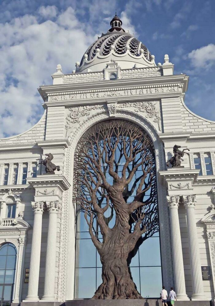 This Is A Giant Iron Tree Built Into The Side Of The Russian Ministry Of Agriculture