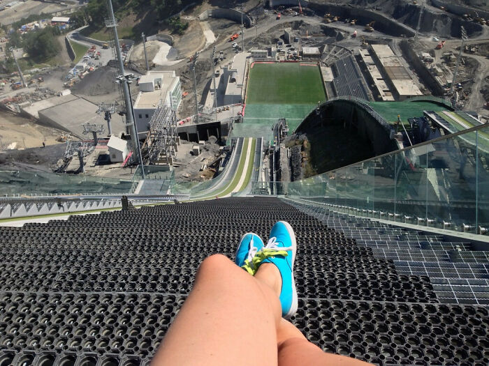It May Look Easy On TV, But Just A Reminder Of What The Ski Jumpers Are Staring At. View From The Top Of The Olympic Ski Jump In Sochi, Russia