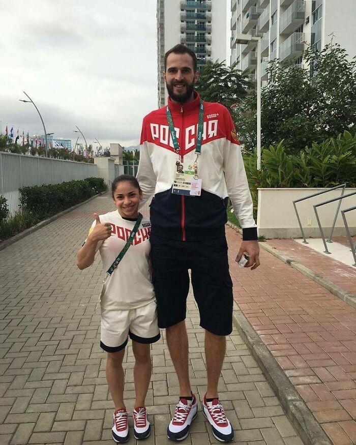 Olympians Alexander Volkov (Volleyball) And Seda Tutkhalyan (Gymnast). Team Russia