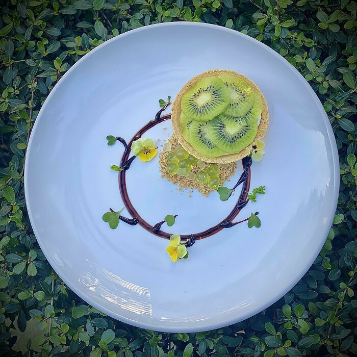 Tarta de kiwi con gelatina de kiwi condensada