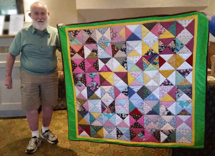 Reddit Meet My Friend Ted. He Took Up Sewing At Age 90. This Is His Second Quilt!