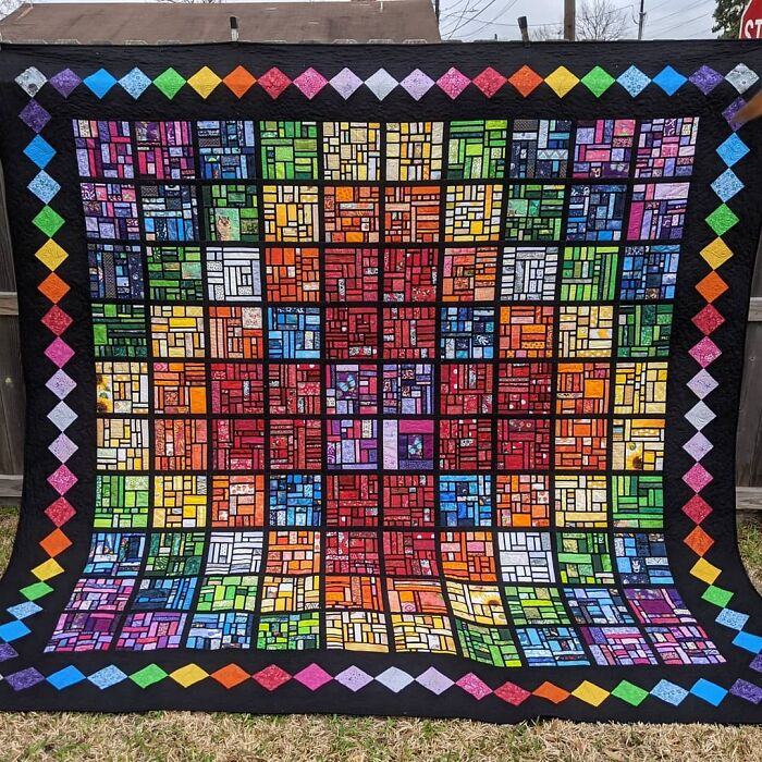 """100 Days, 100 Blocks, One 112"""" Rainbow Stained Glass Scrap Quilt!"""