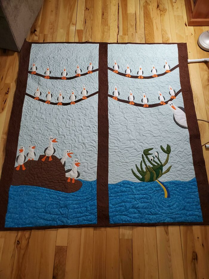 I Made This Quilt Because My Spouse's Favorite Movie Characters Are The Birds From Finding Nemo. He Literally Wanted Just A Quilt Full Of Seagulls So I Sketched This Up And Used Needle Turn Applique And Embroidery To Get The Job Done. I Was Happy It Got To Stay In My House