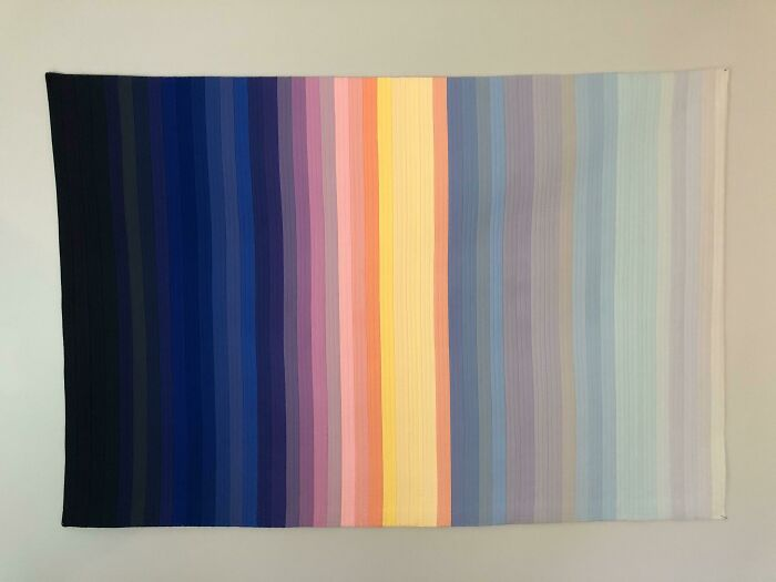 Ante Meridiem- This Modern Quilt Represents The Colors Of The Sky Every 15 Minutes From Midnight Until Noon. It Is Based On The Actual Astronomical, Nautical And Civil Dawn And Sunrise In Madison, Wi On 6/18/81, When My Husband And I Started Our Romantic Relationship. Quilt Lines Every 5 Minutes