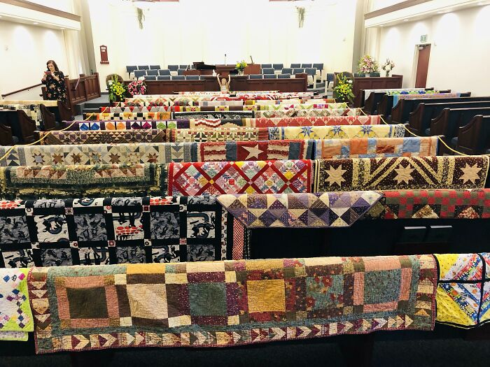 My Mother-In-Law Passed Away Last Week. Here Is Her Quilting Legacy On The Back Of The Pews Before Her Funeral This Morning. She Will Be Missed