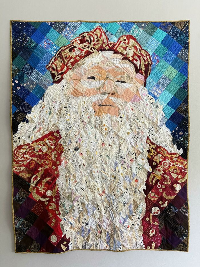 """I Made A Dumbledore Art Quilt Using Raw Edge Appliqué In A Mosaic Style. 48""""x64"""""""