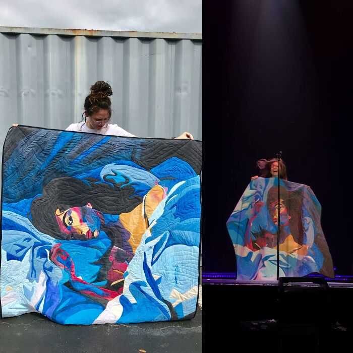 Throwback To When I Painted And Quilted Lorde's Album Cover And She Took It On Stage