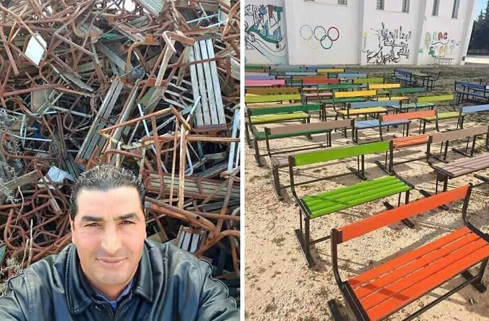 This Awesome Moroccan School Security Guard Wasted No Quarantine Time And Restored, Free Of Charge, These Benches That Were Supposed To End Up In The Trash So That They Can Be Reused This School Year