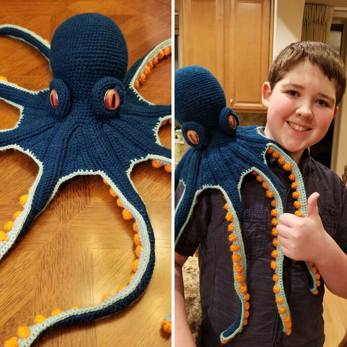 Made An Octopus Friend For My Son. Son Included For Scale