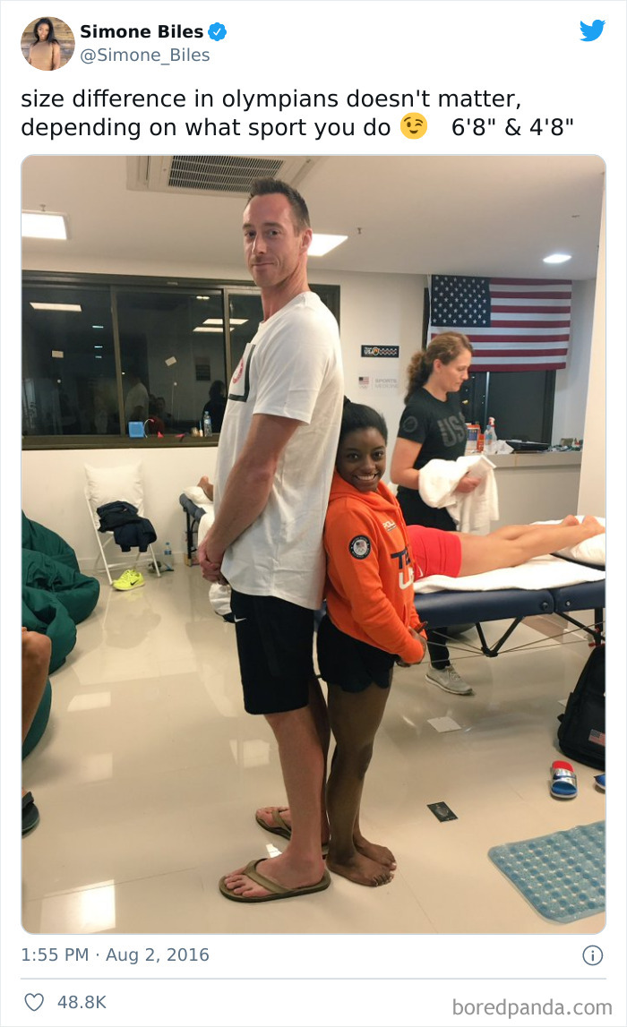 Size Difference Between Simone Biles And A US Volleyball Player David Lee