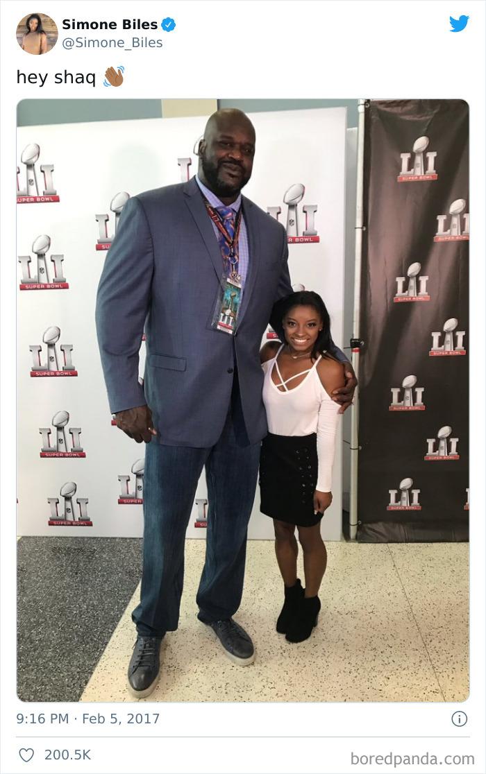 "4'8"" Olympic Gymnast Simone Biles Standing Next To 7'1"" Shaq"