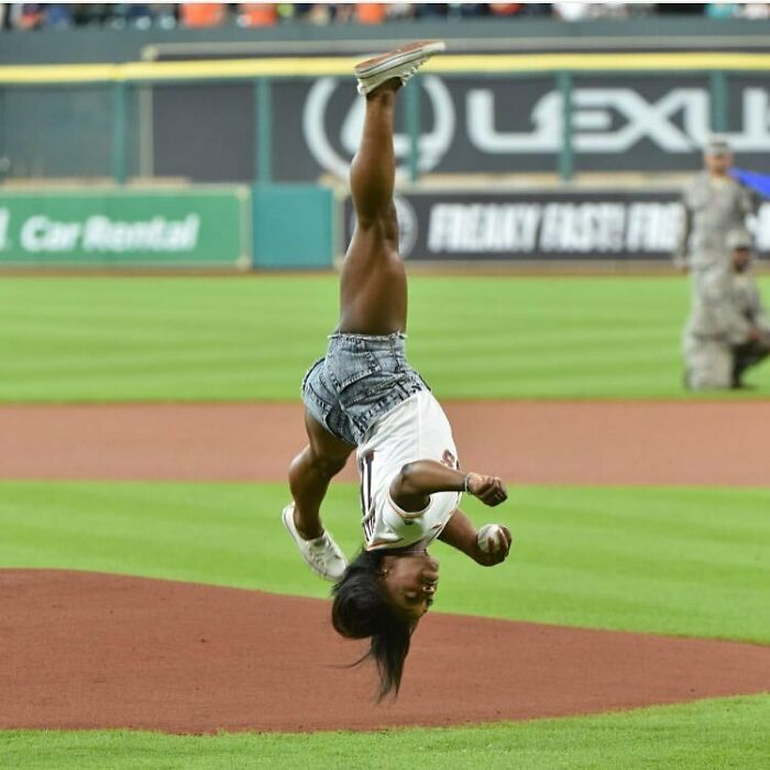 Throwing Out The First Pitch For The Houston Astro's