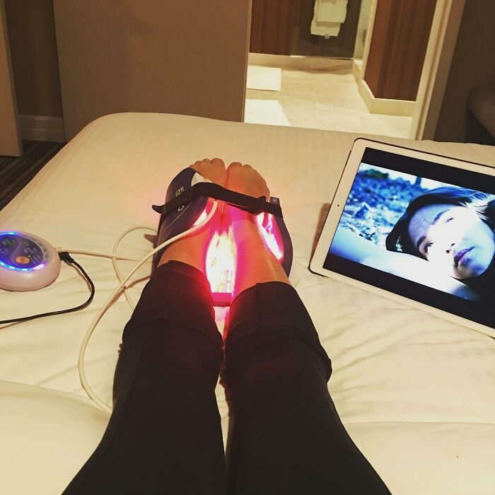 Relaxing & Recovering. Grateful To Have Access To Such Incredible Technology To Help Heal Aches And Pains