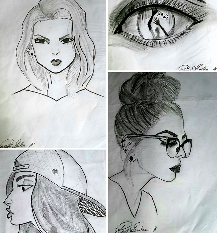Please Don't Judge, Sketching Is Just A Hobby Of Mine ( P.s. The Bottom Left Sketch Doesn't Have A Sign Bcoz It Didn't Fit In The Collage)