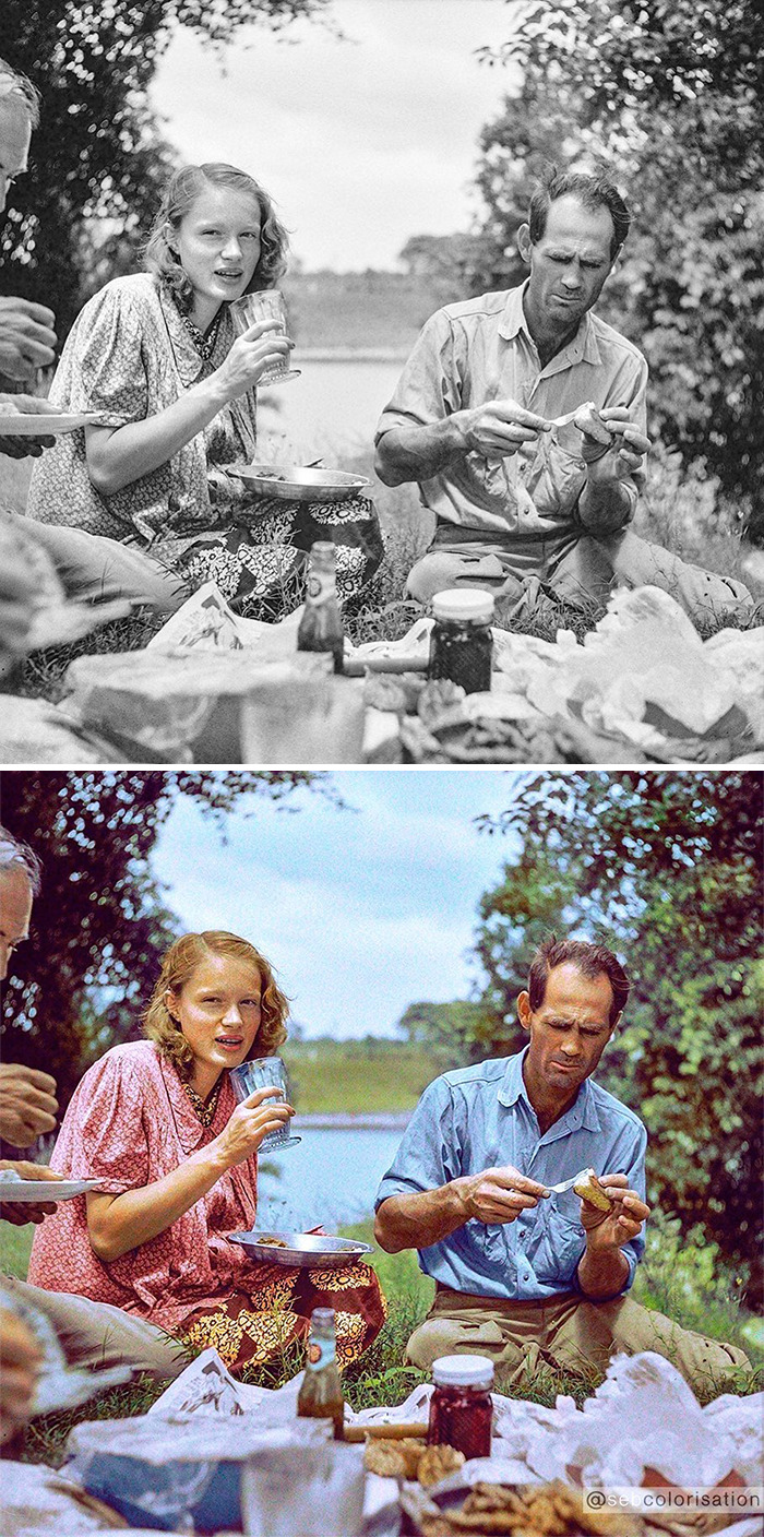 Family Picnic Along The Cane River Near Natchitoches, Louisiana, By Marion Post Wolcott, 4th July 1940