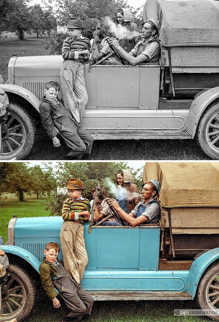 Family Of Cherry Pickers By John Vachon, 1940