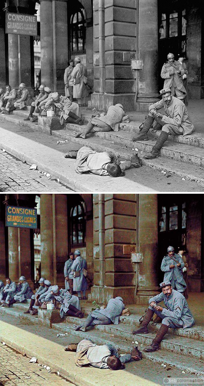 French Soldiers On Leave In Paris, Gare de l'Est, 1916