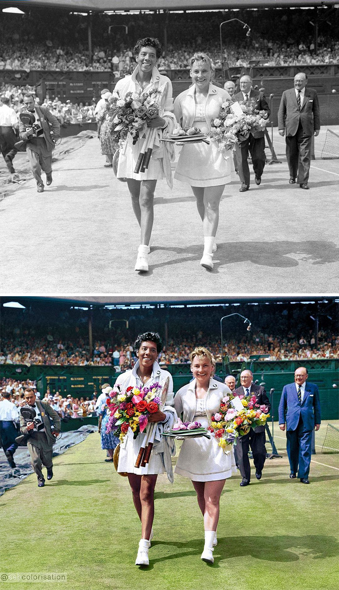 Althea Gibson Winner Of The Wimbledon Championship With Her Compatriot Darlene Hard, 1957