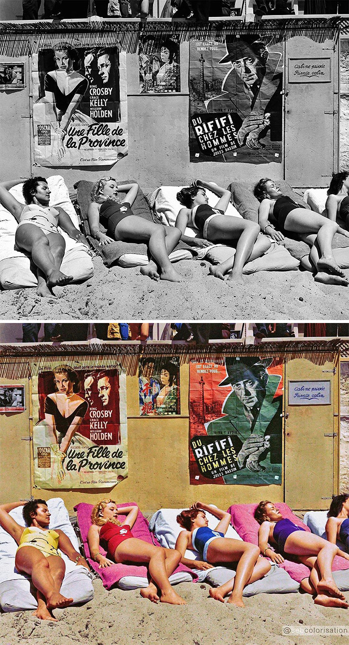 Young Actresses Having A Sun Bath For A Film Promotion During The Cannes Film Festival, 1955