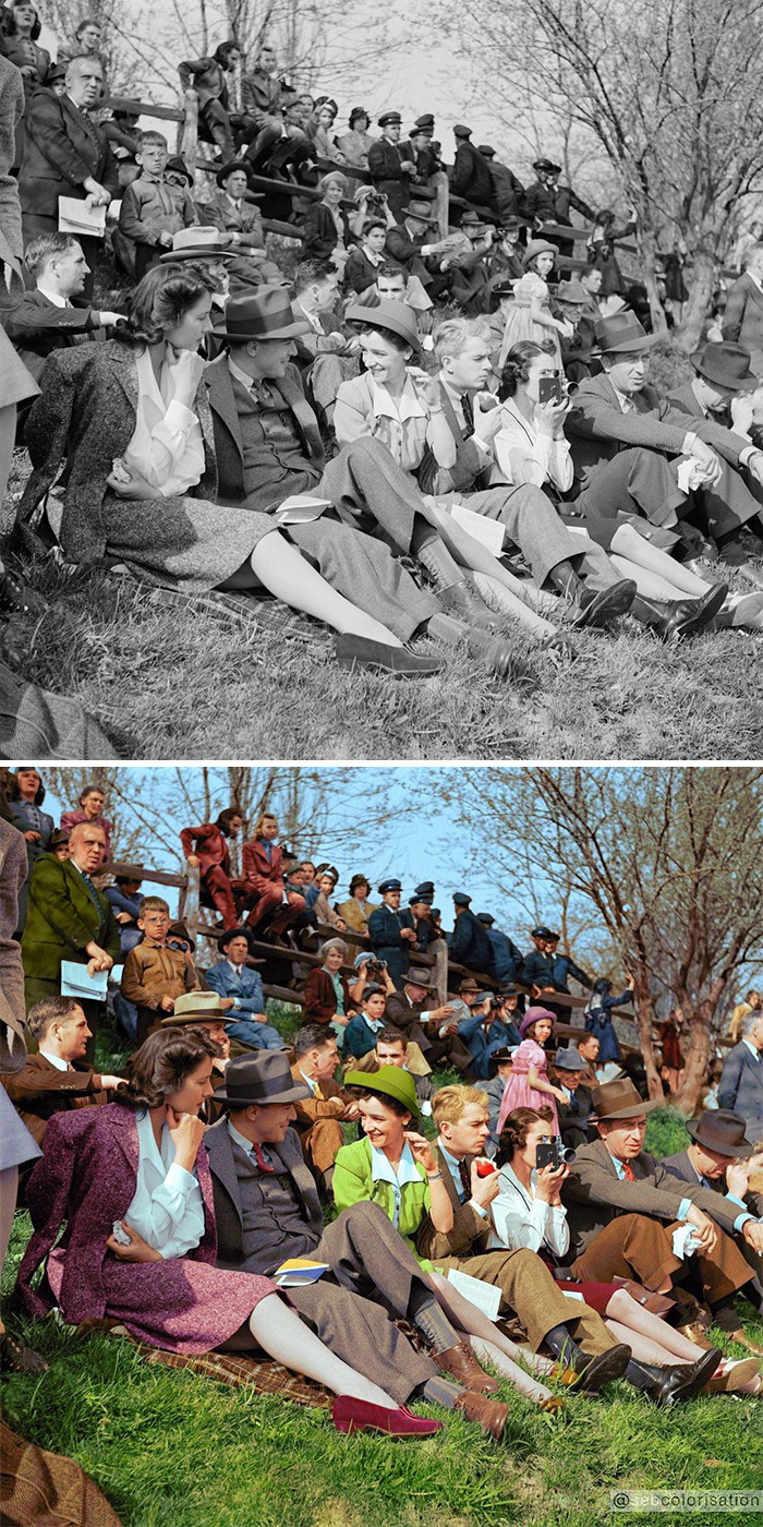 Spectators At A Race In Worthington, Maryland, By Marion Post Wolcott. 1941