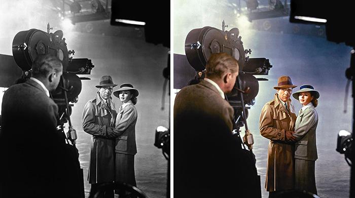 "Bergman, Hemphrey Bogart And Michael Curtis On The Set Of ""Casablanca"" 1939"