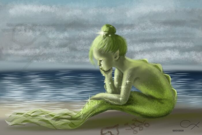 Peridot Mermaid By Me. Watermarked. I Referenced A Little Ballet Girl Photo I Found On Google Maps For The Pose. Out Of The Gemstone Mermaids I've Done This Is My Favourite.